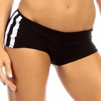 Sexy Neon Trim Balance Work Out Triple Stripe Fitness Full Coverage Shorts - Black/White