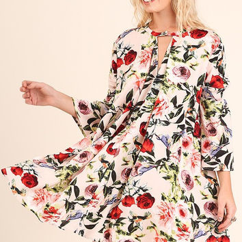 Floral Print A-Line Dress - Blush Mix