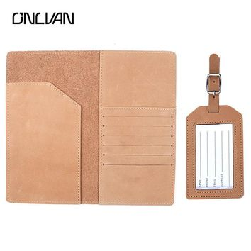 ONLVAN Travel Holder Genuine Leather Passport Cover with Cowhide Luggage Tag Package ID Gift Passport Travel Necessities