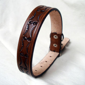 "Tooled leather dog collar, large, 1"" wide, size 15"", antique brown"