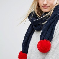 Tommy Hilfiger Knitted Scarf with Detachable Pom in Two Colours at asos.com