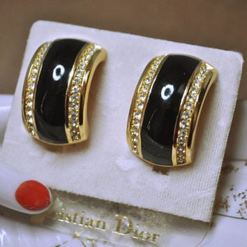 CHRISTIAN DIOR Vintage Large Gold Black Enamel and Rhinestone Hoop Clip Earrings on Original Card, Beautiful and Classic! #A288