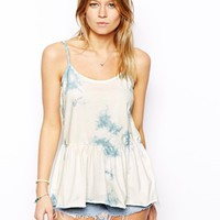 ASOS Cami Top With Peplum In Tie Dye - Pale blue