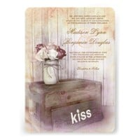 Mason Jar Kiss Wood Rustic Country Wedding Invites