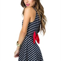 Stripe Bow Flare Dress