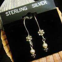 MOTHERS DAY GIFT Sale- Selling All Sterling Silver Wire Earrings with Flower and Swarovski Pearl Mom Grandma Nana