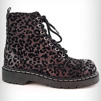 Shimmering Leopard Combat Boots | PLASTICLAND