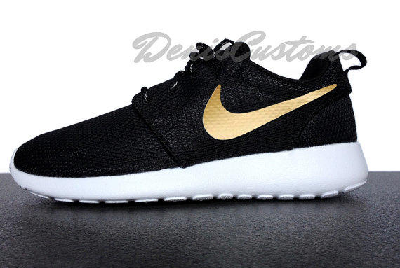 Nike Roshe Run One Black with Custom Gold from DenisCustoms on 9573a65272