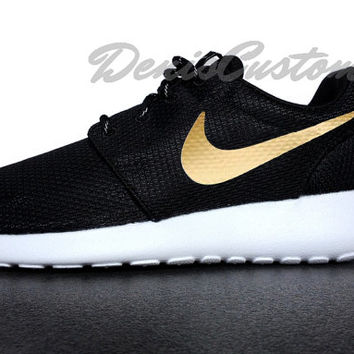 sale retailer 62a49 b9300 Nike Roshe Run One Black with Custom Gold Swoosh Paint
