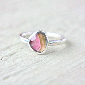 Watermelon Tourmaline Engagement Ring Sterling Silver Natural Rose Cut Tourmaline Gemstone Engagement Ring Size 5,5 Silversmith