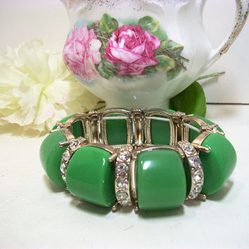 Vintage Bracelet, Costume Jewelry, Mother's Day, Jade Green Color, Rhinestones, Lucite, Gift for Her, Fashion Accessory, Silver Lucite