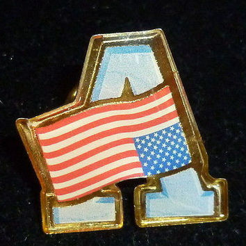 US Flag & Initial A Pin