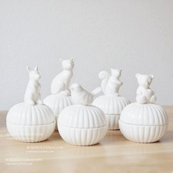 Fashionable 3D Ceramic Animal Candy Jar Cute Cat Squirrel Storage Box Wedding Ring Jewelry Box Crafts Gift Sugar Box Accessories
