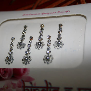 Bindi Jewelry Sticker Set in SILVER Tone Tribal Wedding Ethnic Collection.