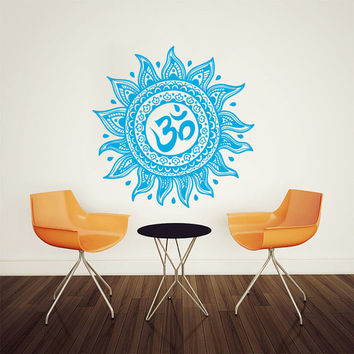 Wall Decal Vinyl Sticker Decals Art Home Decor Mural Mandala Ornament Indian Geometric Moroccan Pattern Yoga Om Namaste Lotus Flower AN162