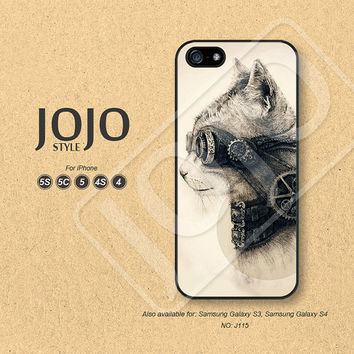 iPhone 5 Case iPhone 5c Case iPhone 4 Case iPhone 5s Case iPhone 4s Case, Steampunk Cat, Phone Cases, Phone Covers - J115