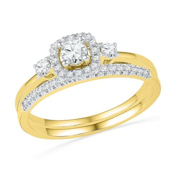 10k Yellow Gold Round Diamond Solitaire Halo Bridal Wedding Engagement Ring Band Set 1/2 Cttw