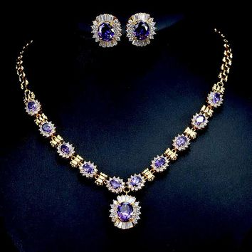 CWWZircons Brilliant Round Dangle Drop Purple Crystal Bridal Necklace And Earring Set Dubai Gold Color Wedding Jewelry T275
