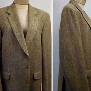 Vintage Magee Donegal Tweed Heather Brown Mens Sport Coat Size 40