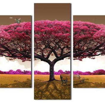 Free shopping Pink Trees 5 Panels/Set HD Canvas Painting Artwork,hot sell modernWall Art the Picture Gift for Living Room