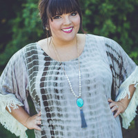 PLUS SIZE: Boho Tie-Dye Dress in Tan