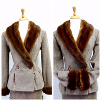 40s Wool Jacket Mink Fur Collar and Cuffs 1940s Fit and Flare Plaid Jacket Coat Medium-Large