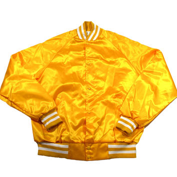Vintage 80s Golden Yellow Satin Jacket Made in USA Mens Size Large
