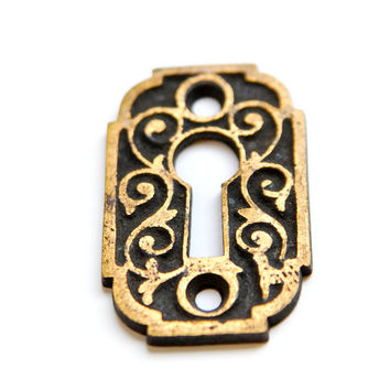 FREE SHIPPING Vintage Antique Brass KeyHole Escutcheon E1087