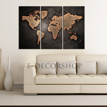 Metalic Black Backgrounded Large Wall Art World Map Canvas Print - Brown and Black Modern World Map