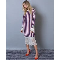 Stay On Stripe Sweater Dress - Gray/Red