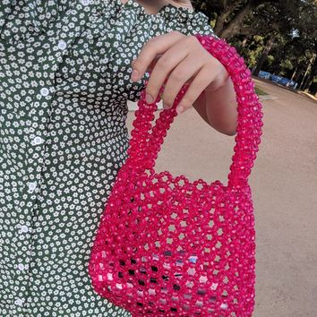 Pink Beaded Handbag Purse