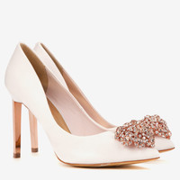 Brooch detail court shoes - Nude Pink | Footwear | Ted Baker UK
