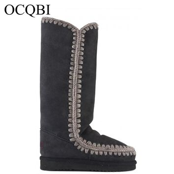 OCQBI winter women tall eskimo 40cm snow boots sheepskin high quality sewing laides knee high boots 35-41 shoes