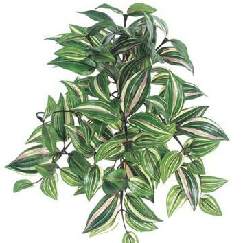 "Small Variegated Faux Wandering Jew Hanging Bush - 12"" Long"