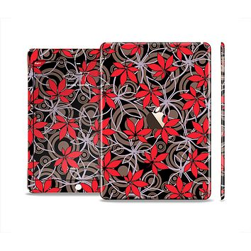 The Red Icon Flowers on Dark Swirl Skin Set for the Apple iPad Pro