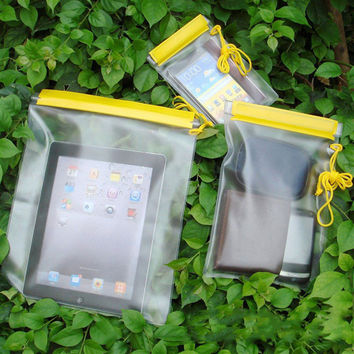 3Pcs Outdoor Travel Waterproof Bag PVC Mobile Phone Camera Pouch For Fishing Swimming Dry Bags Travel Kits Accessory