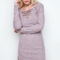 Frenzy Lace Up Dress - Dusty Mauve