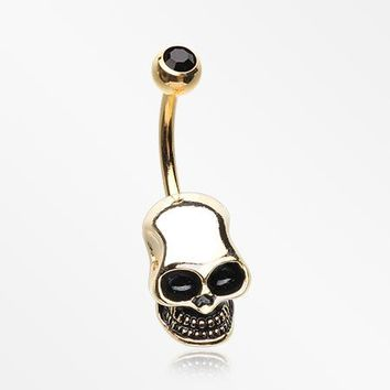 Golden Apocalyptic Skull Head Belly Button Ring