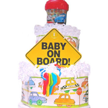 Baby On Board Diaper Cake - Car Diaper Cake -Things That Go Theme - Boy Baby Shower