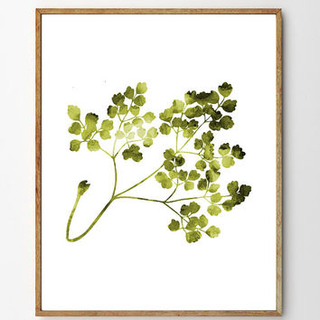 Branch no.1 - Floral Art, Botanical Print, Watercolor Painting Flowers, Nature Art Print, Home Decor, Green Wall Art