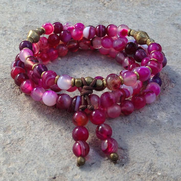 108 bead mala pink agate wrap bracelet or necklace
