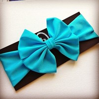 Aqua big bow headwrap from Bowlicious Divas Bowtique