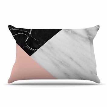 "Cafelab ""Marble Collage With Pale Pink ""  Gray Pink Pillow Case"