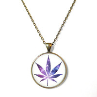 Galaxy Weed Marijuana Leaf Necklace - Soft Grunge Jewelry - Funny Weed Druggie Pendant
