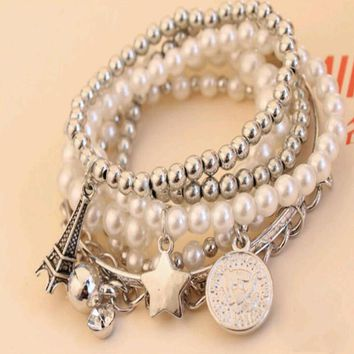 Pearl of the Eiffel Tower multilayer female bracelets jewelry vintage pearl coin combination bracelets