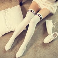 2017 winter Women Knit Cotton Over The Knee Long Striped Thigh High Socks