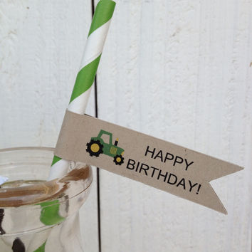 Tractor Birthday Paper Straws Flags Personalized
