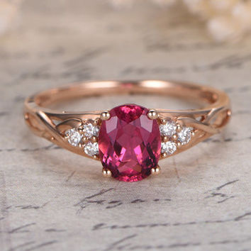 Pink Tourmaline Engagement Ring 1.35ct Oval Cut Tourmaline Ring 14K Rose Gold Engagement Ring Diamond Halo Ring New Year Gift Present