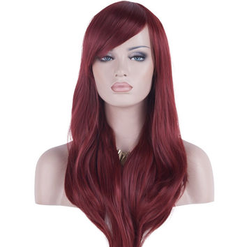 "DAOTS 28"" Wig Long Heat Resistant Big Wavy Hair Women Cosplay Wig (Wine Red)"