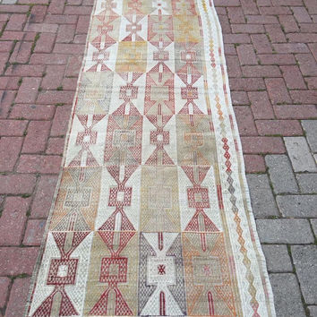 "Anatolian Turkish embroidered Classic Kilim Runner 100""x 28"" inches ( 255 cm x 71 cm)"